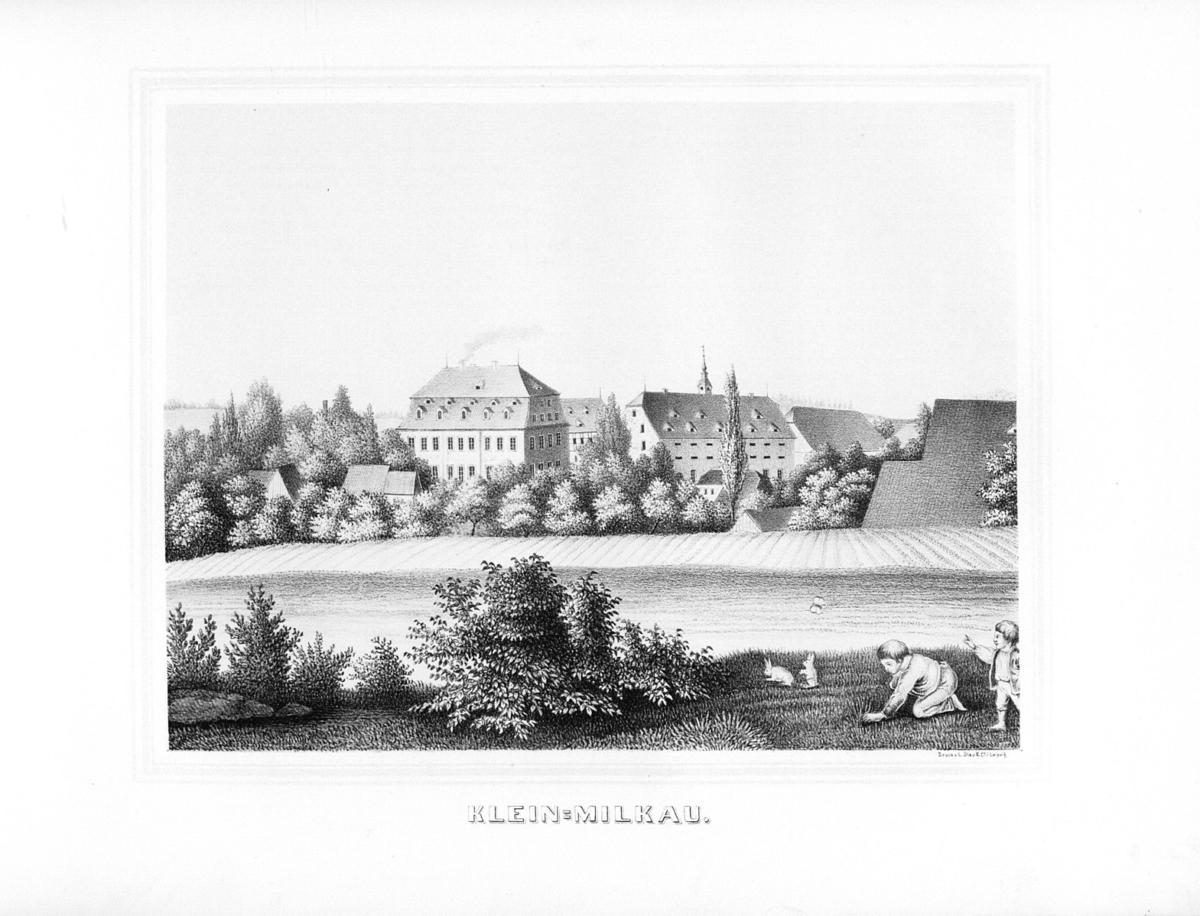 Kleinmilkau --- spätestens 1860 - aus: Album der Rittergüter und Schlösser im Königreiche Sachsen, Leipziger Kreis.